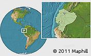 Savanna Style Location Map of Ecuador, satellite outside