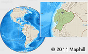 Savanna Style Location Map of Ecuador, shaded relief outside