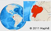 Shaded Relief Location Map of Ecuador