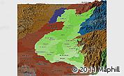 Political Shades Panoramic Map of Los Rios, darken