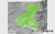 Political Shades Panoramic Map of Los Rios, desaturated
