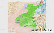 Political Shades Panoramic Map of Los Rios, lighten