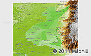 Political Shades Panoramic Map of Los Rios, physical outside