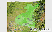 Political Shades Panoramic Map of Los Rios, satellite outside