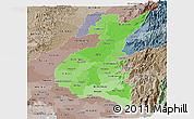Political Shades Panoramic Map of Los Rios, semi-desaturated