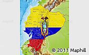 Flag Map of Ecuador, physical outside