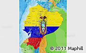 Flag Map of Ecuador, political outside