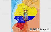 Flag Map of Ecuador, political shades outside