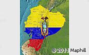 Flag Map of Ecuador, satellite outside