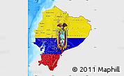 Flag Map of Ecuador, single color outside, bathymetry sea