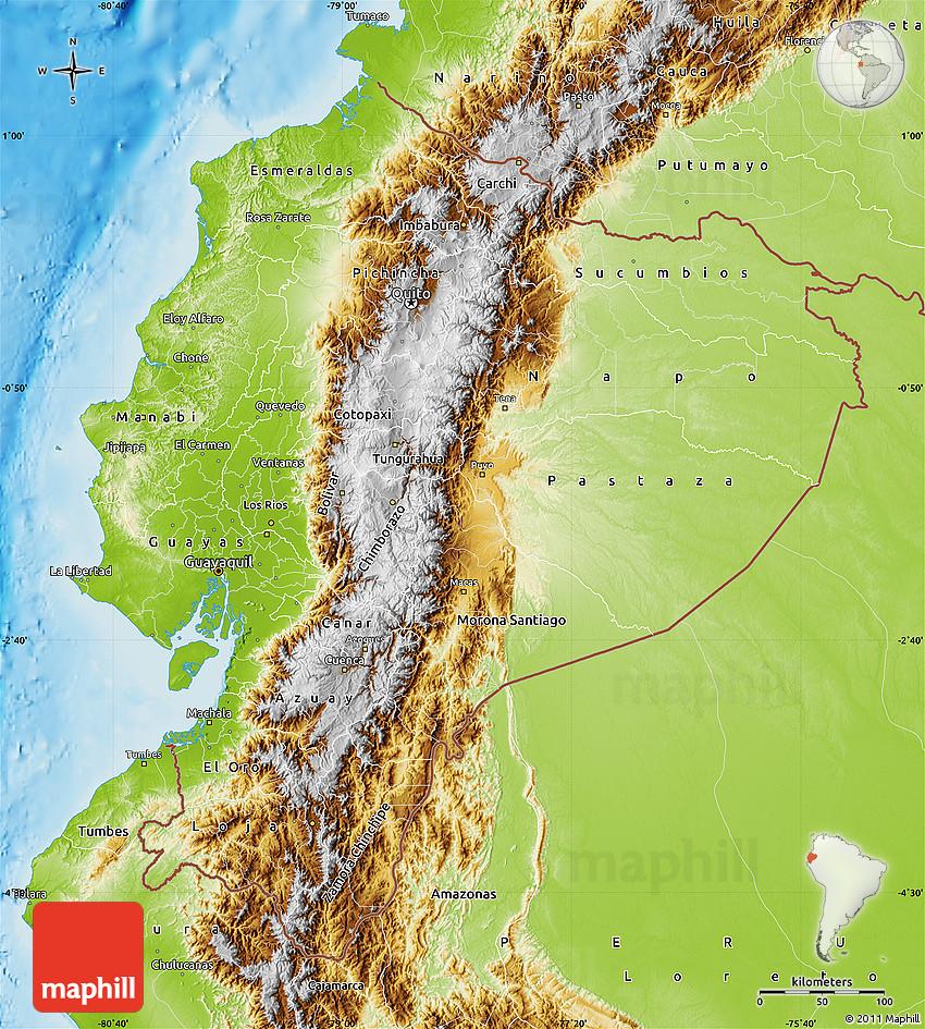 Physical Map Of Ecuador - Physical map of ecuador