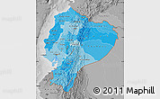 Political Shades Map of Ecuador, desaturated