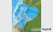 Political Shades Map of Ecuador, satellite outside, bathymetry sea
