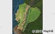 Satellite Map of Ecuador, darken