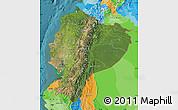 Satellite Map of Ecuador, political outside, satellite sea