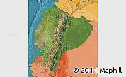 Satellite Map of Ecuador, political shades outside, satellite sea