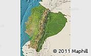 Satellite Map of Ecuador, shaded relief outside, satellite sea