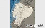 Shaded Relief Map of Ecuador, darken