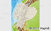 Shaded Relief Map of Ecuador, physical outside