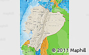 Shaded Relief Map of Ecuador, political outside, shaded relief sea