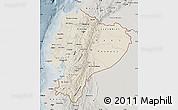 Shaded Relief Map of Ecuador, semi-desaturated