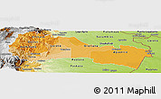 Political Shades Panoramic Map of Napo, physical outside