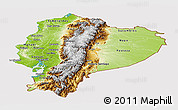 Physical Panoramic Map of Ecuador, cropped outside