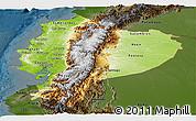 Physical Panoramic Map of Ecuador, darken