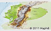 Physical Panoramic Map of Ecuador, lighten