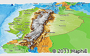 Physical Panoramic Map of Ecuador, political outside, shaded relief sea
