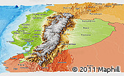 Physical Panoramic Map of Ecuador, political shades outside, shaded relief sea