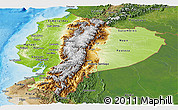 Physical Panoramic Map of Ecuador, satellite outside, shaded relief sea