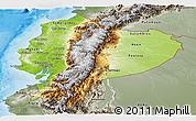 Physical Panoramic Map of Ecuador, semi-desaturated, land only