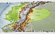 Physical Panoramic Map of Ecuador, semi-desaturated