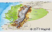 Physical Panoramic Map of Ecuador, shaded relief outside