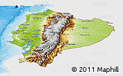 Physical Panoramic Map of Ecuador, single color outside