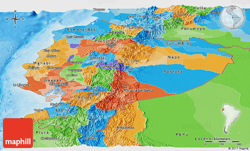 Political Panoramic Map Of Ecuador