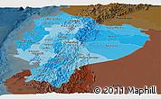 Political Shades Panoramic Map of Ecuador, darken