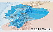 Political Shades Panoramic Map of Ecuador, lighten