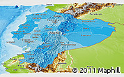Political Shades Panoramic Map of Ecuador, physical outside