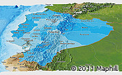 Political Shades Panoramic Map of Ecuador, satellite outside, bathymetry sea