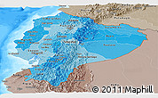 Political Shades Panoramic Map of Ecuador, semi-desaturated, land only