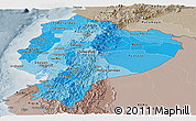 Political Shades Panoramic Map of Ecuador, semi-desaturated