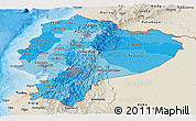 Political Shades Panoramic Map of Ecuador, shaded relief outside, bathymetry sea