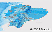 Political Shades Panoramic Map of Ecuador, single color outside