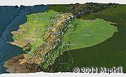 Satellite Panoramic Map of Ecuador, darken