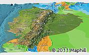Satellite Panoramic Map of Ecuador, political outside, satellite sea