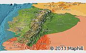 Satellite Panoramic Map of Ecuador, political shades outside, satellite sea