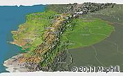 Satellite Panoramic Map of Ecuador, semi-desaturated, land only