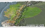 Satellite Panoramic Map of Ecuador, semi-desaturated